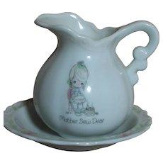 Ensco porcelain Pitcher & Plate Set Precious Moments Mother Sew Dear