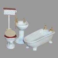 Porcelain Dollhouse Bathroom Set  5 Pieces Bathtub  Sink  Toilet