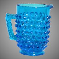 Vintage Blue Hobnail Miniature Glass Pitcher 3""