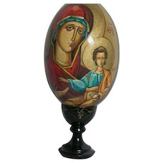 Hand Painted Icon Wood Egg of Mother of God Virgin Mary & Jesus on Stand