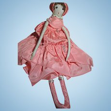 Old Rag Slender Flapper Doll Very Pretty   Long Limbs  Great Outfit