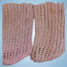 French Bebe Small Pink Stockings Suitable for Antique French Dolls
