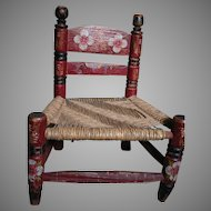 Antique Child's or Doll Chair Rush Seat  Red Finish  Ladder Back  Tole Paint