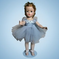 "Madame Alexander Margot  Ballerina in Blue Tulle  14""  Walker 1950s"