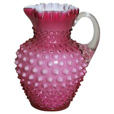 Cranberry Hobnail Pitcher with white interior  Applied Handle