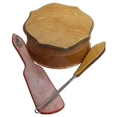 Vintage Vanity Dresser Set  Acwaite Powder box, Shoe Horn & Button Hook