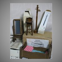 Vintage Dollhouse Wood Furniture 4 pieces still in Original Boxes