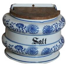 Antique Blue Onion Salt Box Marked Blue Onion with Two Swords