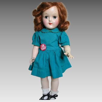 """Ideal Toni Doll Flaming Red  Hair  Blue Dress P-91 Ideal Hard Plastic Doll 16"""""""