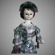 """Early English Wooden Doll Carved Head Large Dark Glass Eyes Wood Jointed Body 24"""" tall"""