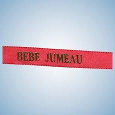 Vintage Red Ribbon Bebe Jumeau   for Jumeau  Dress
