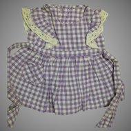 Terri Lee Doll Dress  Lavender and White  Check Cotton Dress  White Lace trim