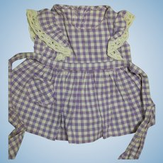 Terri Lee Doll Dress  Lavender and White  Check Cotton Dress  White Lace trim