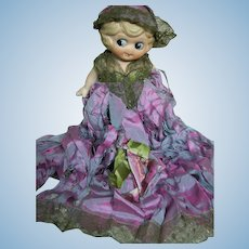 All Bisque Made in Japan Doll Dressed in Silks  1920's