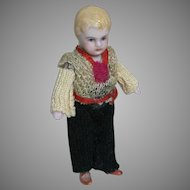 Small Dollhouse All-Bisque Boy Originally  Dressed  3""