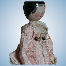 German  Peg Wooden Grodnertal  Doll  Nicely Dressed 12""