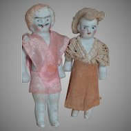 Two Small All Bisque Dollhouse Doll Man with Mustache and Lady