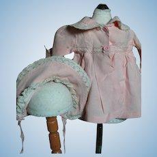 Vintage Pink Doll Coat Dress & Matching Hat  Bonnet   1950's
