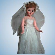 "Vintage Large Bride Lady Doll  Hard Plastic Body and Vinyl head  29"" tall"