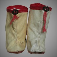 Vintage doll Boots Cream Color Red Trim  1950s