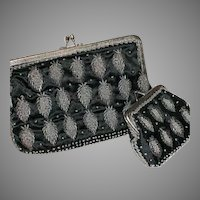 Vintage Beaded Black Clutch Purse & Matching Coin Purse