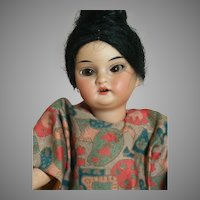 A. M. Oriental Girl Doll   Original Oriental Composition Body  Rare 9""