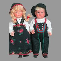 Two Minerva Trademark Helmet Mark German Celluloid Dolls  All Original  7-1/2 inches tall