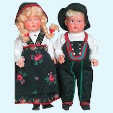 Two Minerva Trademark Helmet Mark German Celluloid Dolls  All Original  7-1/2 inches tall