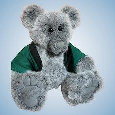 "Original Ben Raffle Artist Bear Fuzzy and Grey with Green Jacket Big Feet 19"""
