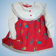 Ideal Patti Play Pal Doll Dress Red with Alphabet  Letters Suitable but not original
