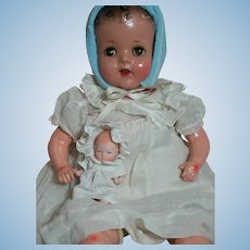 "Vintage Doll Composition and Cloth Sleep Eyes 23"" & baby doll 1920s"