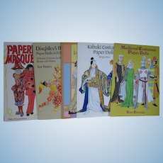 5 Uncut Paper Doll Books Costumes Kabuki Medieval Japanese Diaghilev's Masquerade