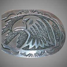 Sterling Silver Belt Buckle  with Bald Eagle Head