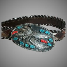 Vintage Large Belt Buckle & Belt Buckle with Turquoise & Coral Stones