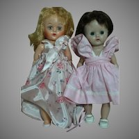 Two Hard Plastic Small Walker Dolls  in Original Outfits 1950's