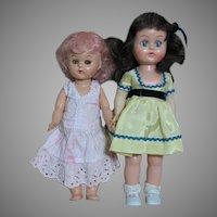 Two Hard Plastic Small Walker Dolls  1950's