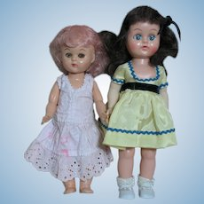 Two Hard Plastic Small Walker Dolls  1950's