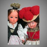 Two Hard Plastic  Celluloid Doll Austria Helga  & Turtle Mark Germany