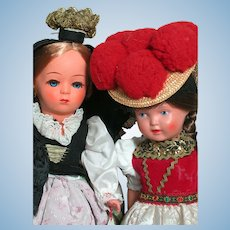 Two Hard Plastic  Celluloid Doll Austria Helga  & Turtle Mark Germany
