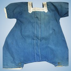 Original boy's Romper Suit Blue Cotton White Trim for larger Doll