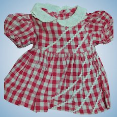 "Vintage Terri Lee Doll Dress Red Check for 16"" doll  or Other dolls"