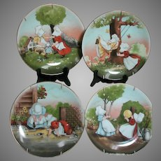 Sun-Bonnet Babies Playtime Series 4 Plates with Hangers