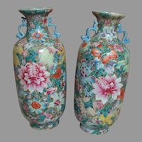 """Two Porcelain Chinese Enameled Vases Famille Rose   10"""" Qianlong Red Seal Mark"""
