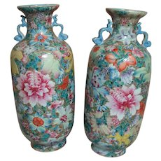 "Two Porcelain Chinese Enameled Vases Famille Rose   10"" Qianlong Red Seal Mark"
