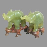 Two Small Jade Elephants on Wood Pedestals   Light Green Jade