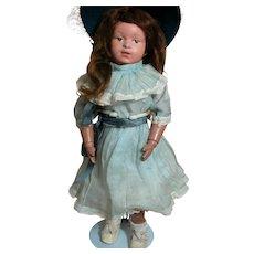 "Schoenhut  Doll Wood Jointed body Paper Label Intaglio Blue Eyes 14"""
