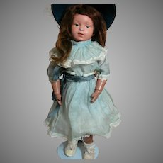 Schoenhut  Doll Wood Jointed body Paper Label Intaglio Blue Eyes 14""