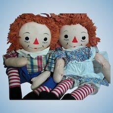 "Raggedy Ann & Andy dolls  Georgene Silsby Label 24"" 1940s"
