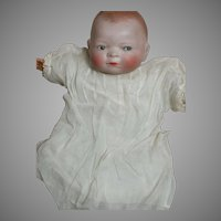 Small Bye-Lo  Baby Doll Bisque Head Marked Cloth body Blue Sleep Eyes 11""