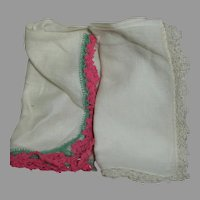 """Two Vintage Crochet Hanky's White and a Rose Crochet End trims  11 """""""
